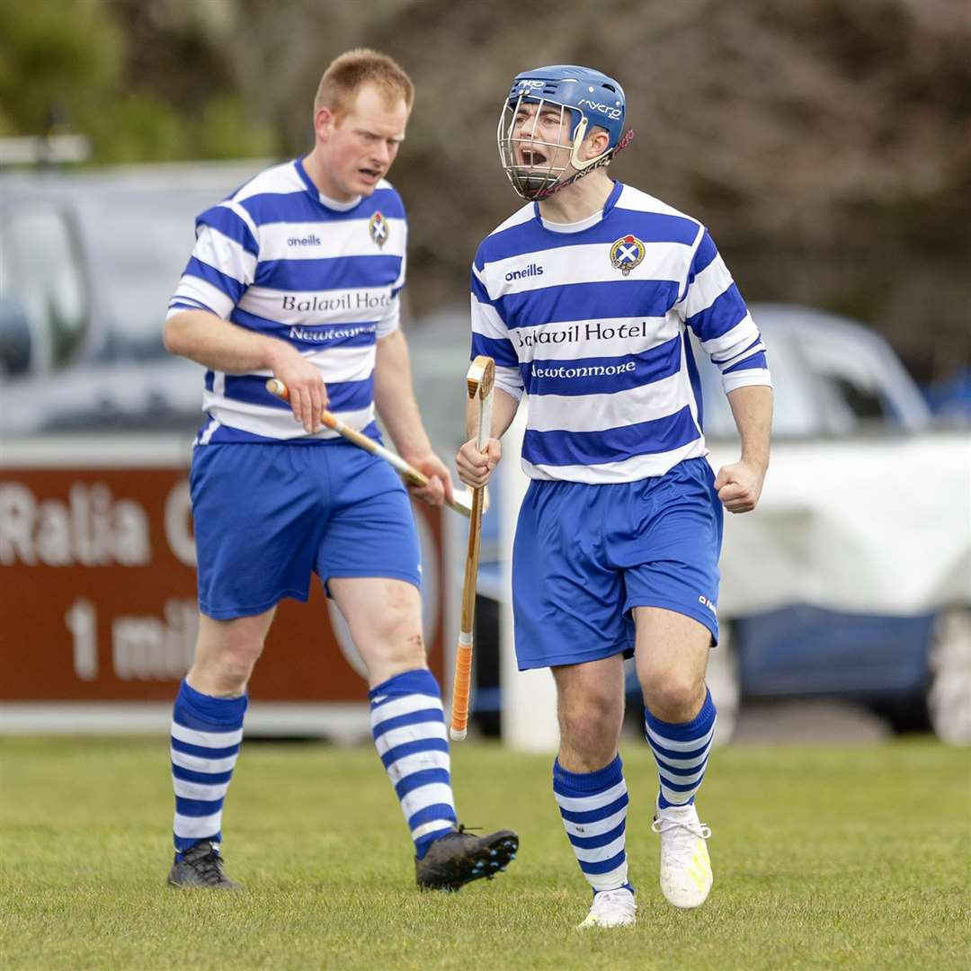 Newtonmore's Iain Robinson (right) scored the only goal of the game.Newtonmore v Kinlochshiel in the Mowi Premiership, played at The Eilan, Newtonmore.