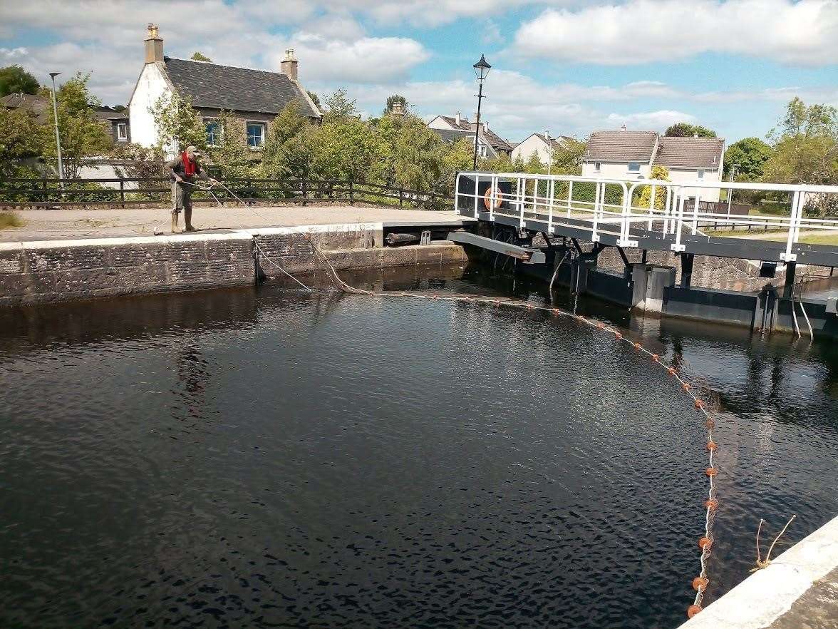 A net has been placed at the top chamber at Muirtown Locks on the outskirts of Inverness.