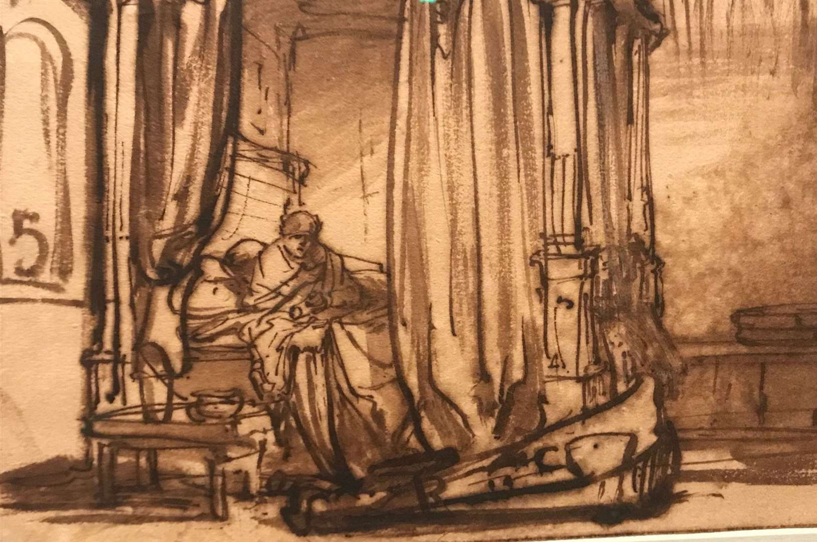 A rarely seen sketch by Rembrandt of his wife in their bedroom displayed at the All The Rembrandts Exhibition at the Rijksmuseum, Amsterdam. Picture: Gabrielle Fagan/Rijksmuseum/PA