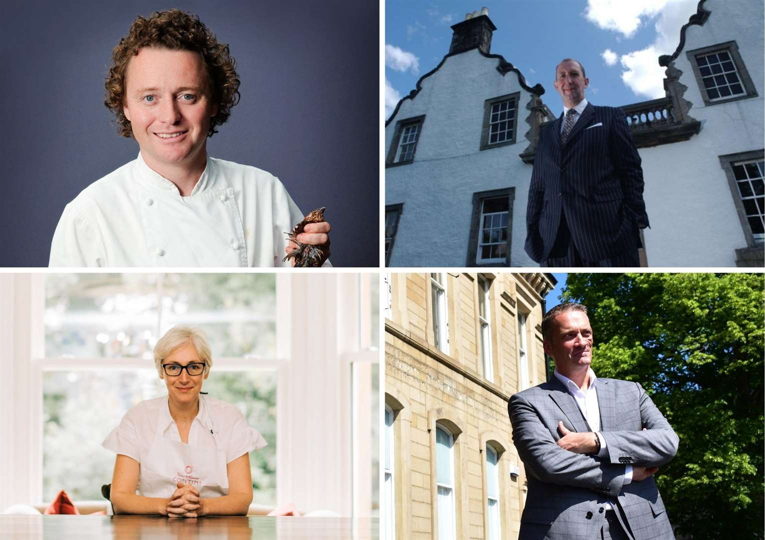 Amiong the well known hospitality figures supporting the campaign are (top left to right) Tom Kitchin and James Thomson and (bottom) Carina Contini and Nic Wood.