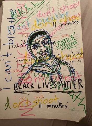 One of the Ness Bridge Black Lives Matter artworks, a drawing by 11-year-old Sienna Hatch.