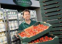 Magnus Swanson with just a few of the strawberries which his firm will be delivering to Castle Stuart during the Barclays Scottish Open.