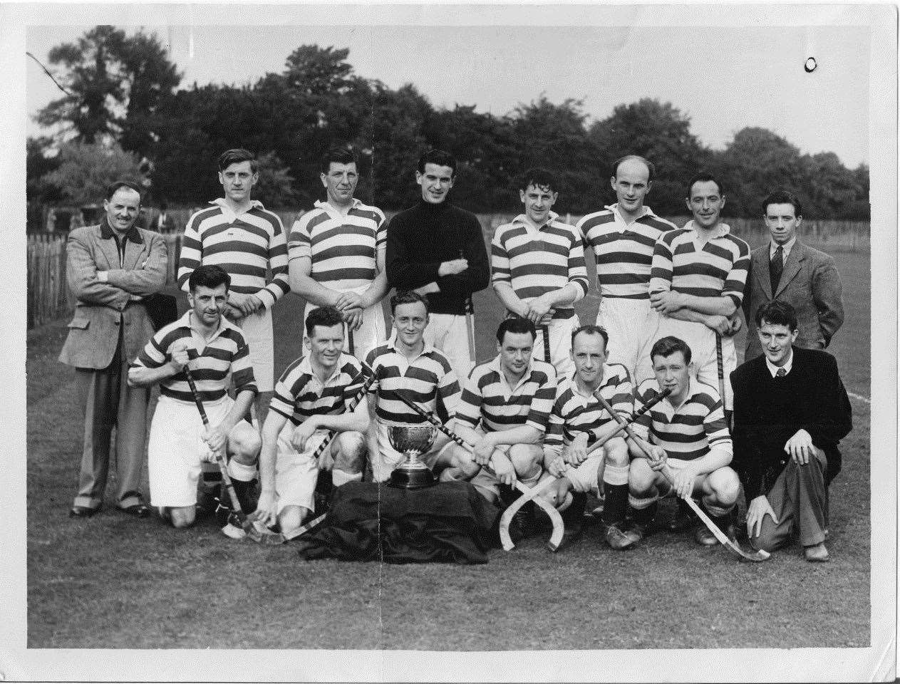 Denis Swanson (behind trophy) was Torlundy Cup winning captain in 1951 and scored the winning goal against Oban Celtic. Picture: The Shinty Archive (Hugh Dan MacLennan)