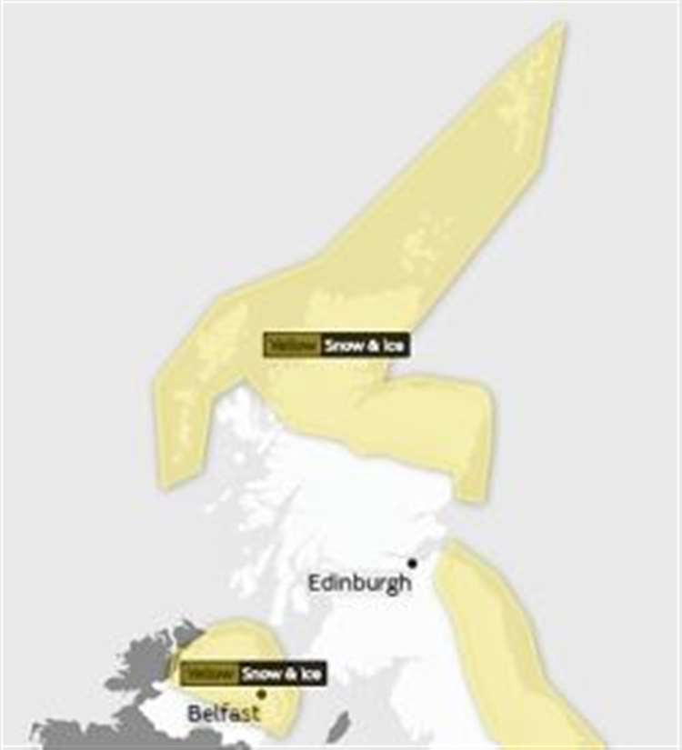 Yellow weather warning extended in Highlands and second