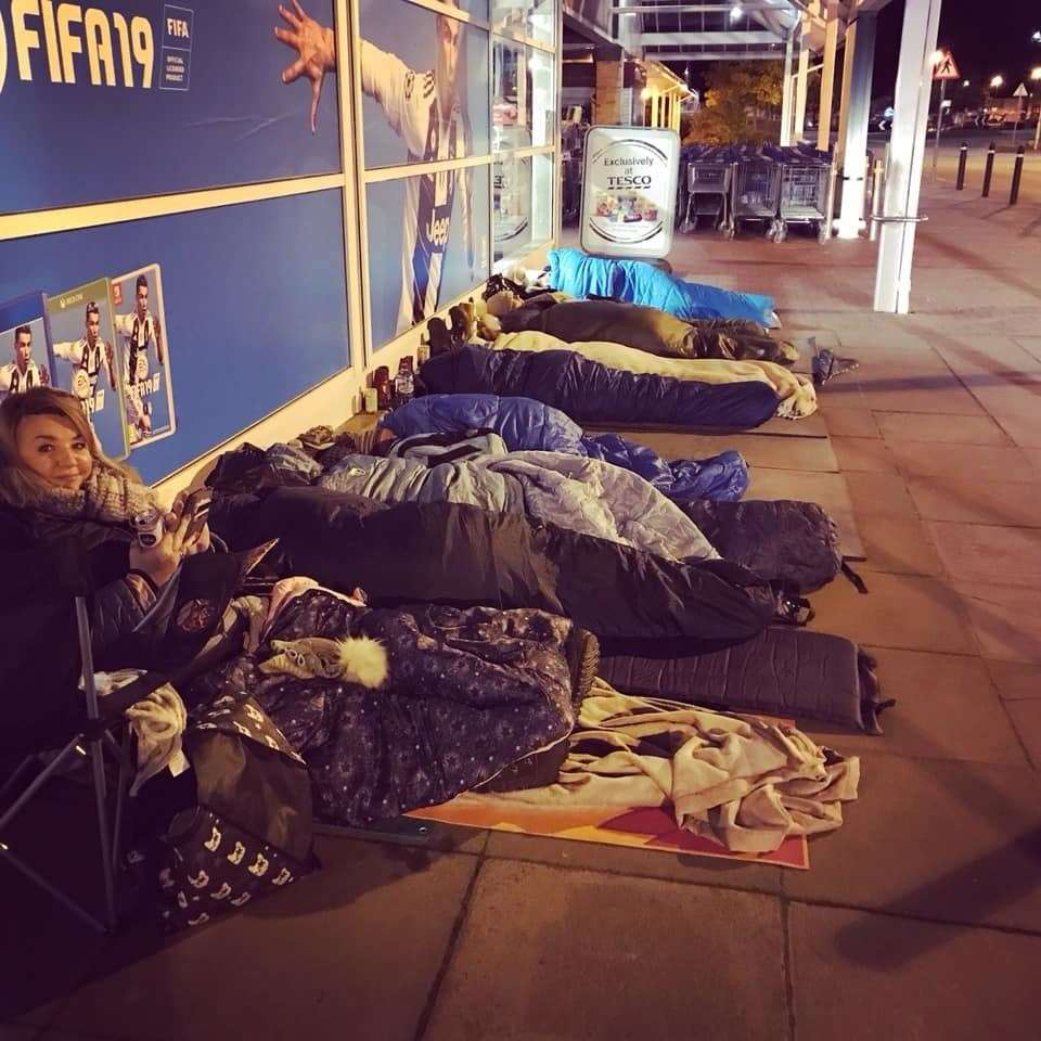 People sleeping outside Tesco Extra to fundraise in support of homeless people for the first Inverness Sleep Out.