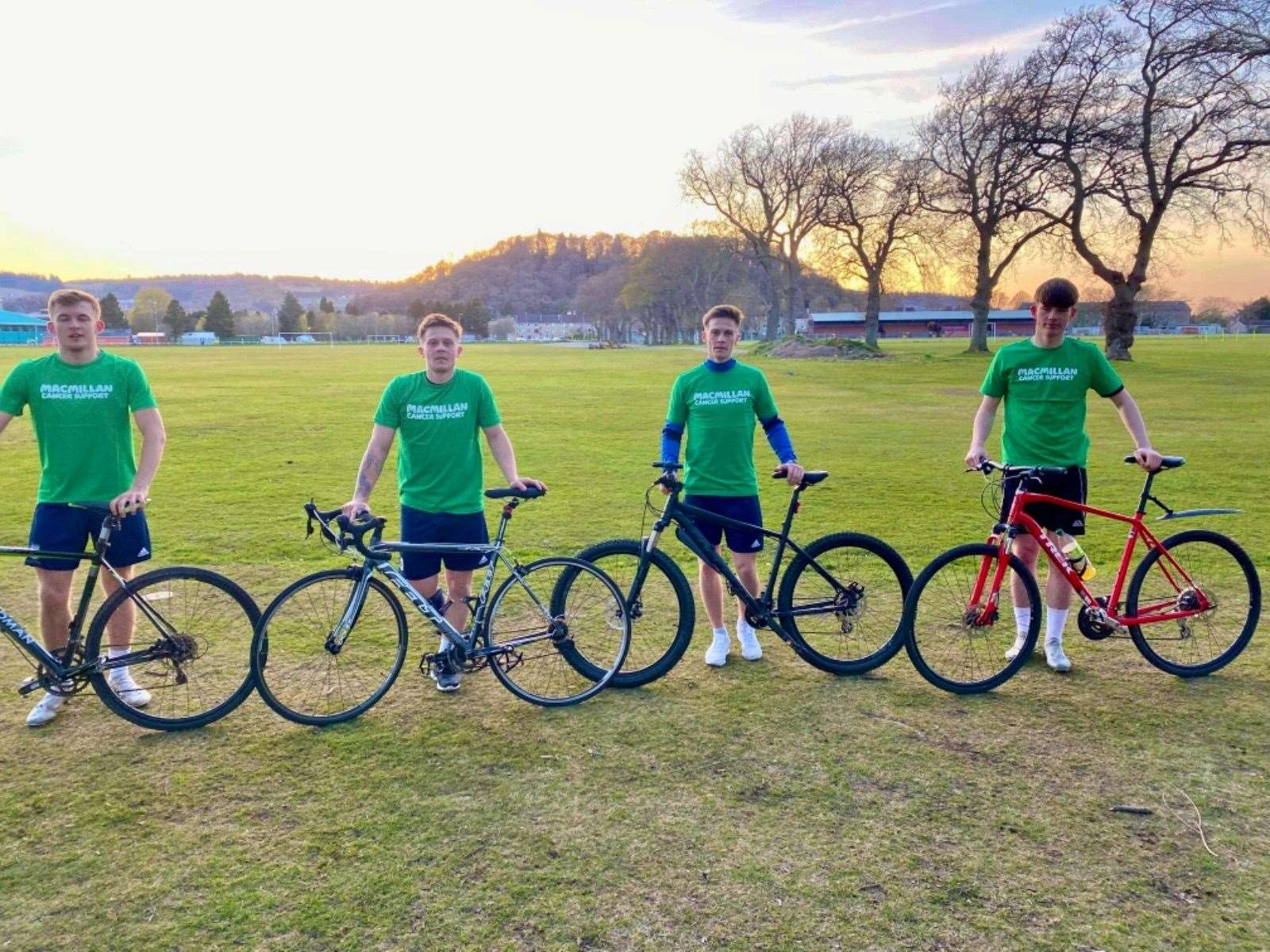 Loch Ness FC players Luke Seago, Martin and Craig Mainland and Jamie Calder are among the team cycling 5000 miles for Macmillan.