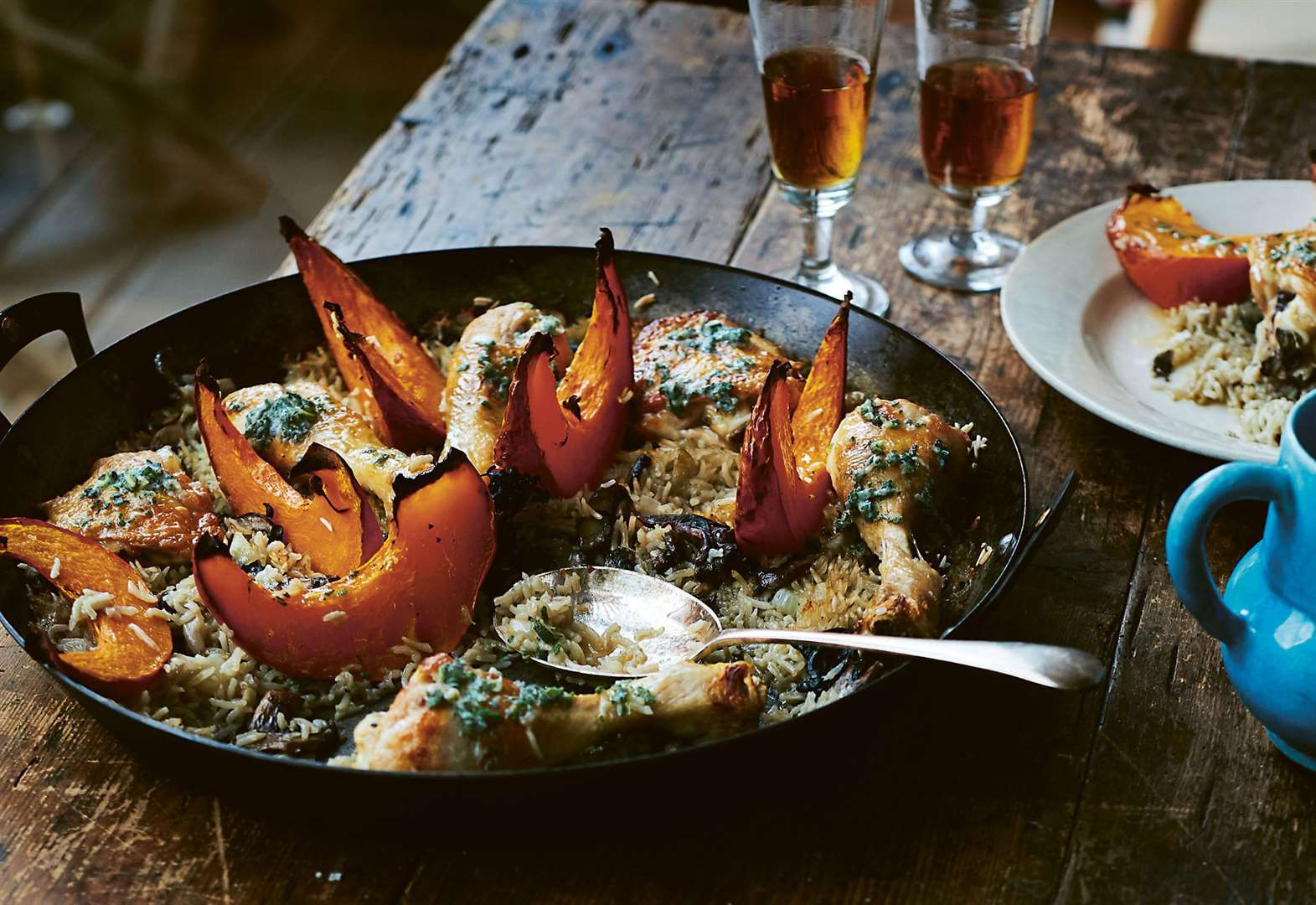 Recipe of the week: chicken with wild mushrooms, pumpkin, rice and sage butter