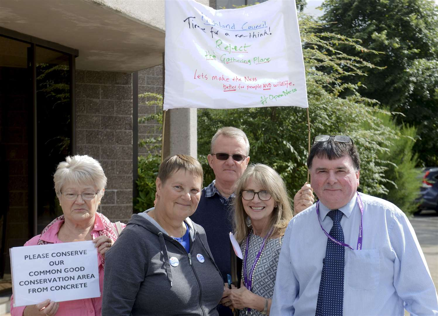Councillors Glynis Campbell-Sinclair and Ken Gowans with protesters...Picture: James MacKenzie.