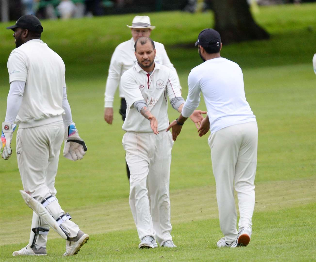 Gagandeep Singh celebrates taking a wicket in Highland's last match against Ross County. Picture: Gary Anthony. Image No.044421