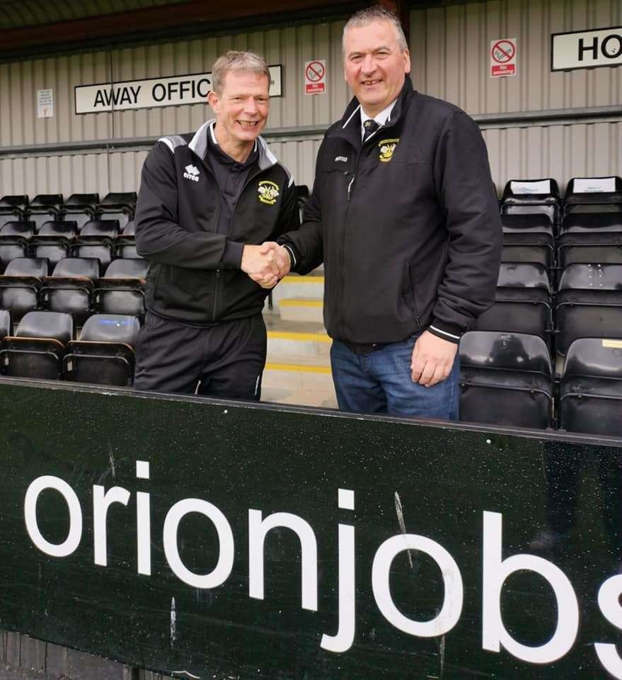 New Clachnacuddin manager Sandy McLeod (left) with Lilywhites chairman Alex Chisholm (right).