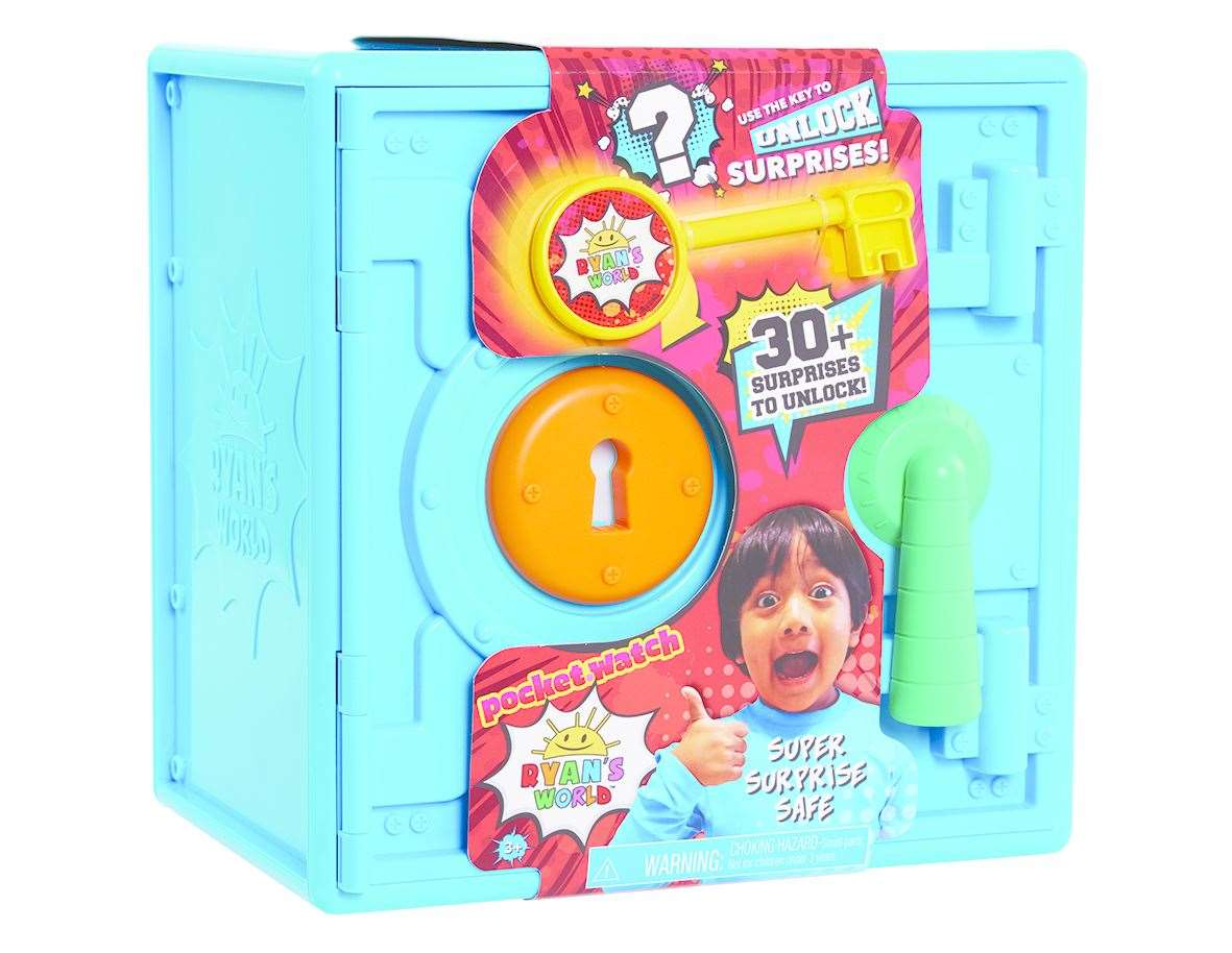 Unlock the fun with the Ryan's World Super Surprise Safe. This large surprise-filled safe brings new fun to unboxing. Kids can use the key to open the safe and discover cool Ryan's World inspired surprises inside, such as articulated figures, mix and match build a characters, treasure, and so much more! Push and reveal, smash and surprise, decode and discover all of the amazing surprises inside! A secret, locked compartment reveals the ultimate surprises. Each safe has over 30 fun surprises inside! The surprise and excitement of Ryan's World is never-ending with the new line of Ryan's World Toys. Bring home the Ryan's World Surprise Safe and the rest of Ryan's World Toys, inspired by Ryan ToysReview, and let your little fan bring their own creativity to life! Ages 3+