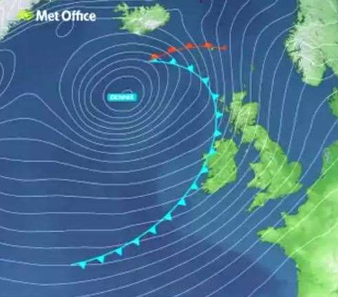 Storm Dennis is set to bring high winds on Saturday and Sunday. Picture Met Office.