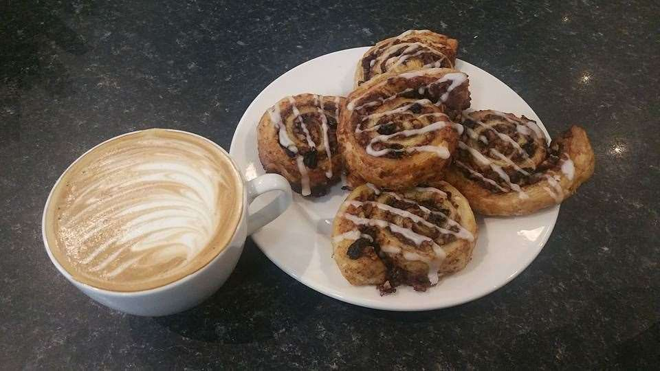 Coffee and vegan cinnamon swirls. Image courtesy of the Blend Tea and Coffee Merchants Facebook page.