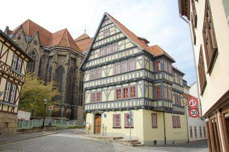 A traditional house, and there are so many, and the church in Arnstadt