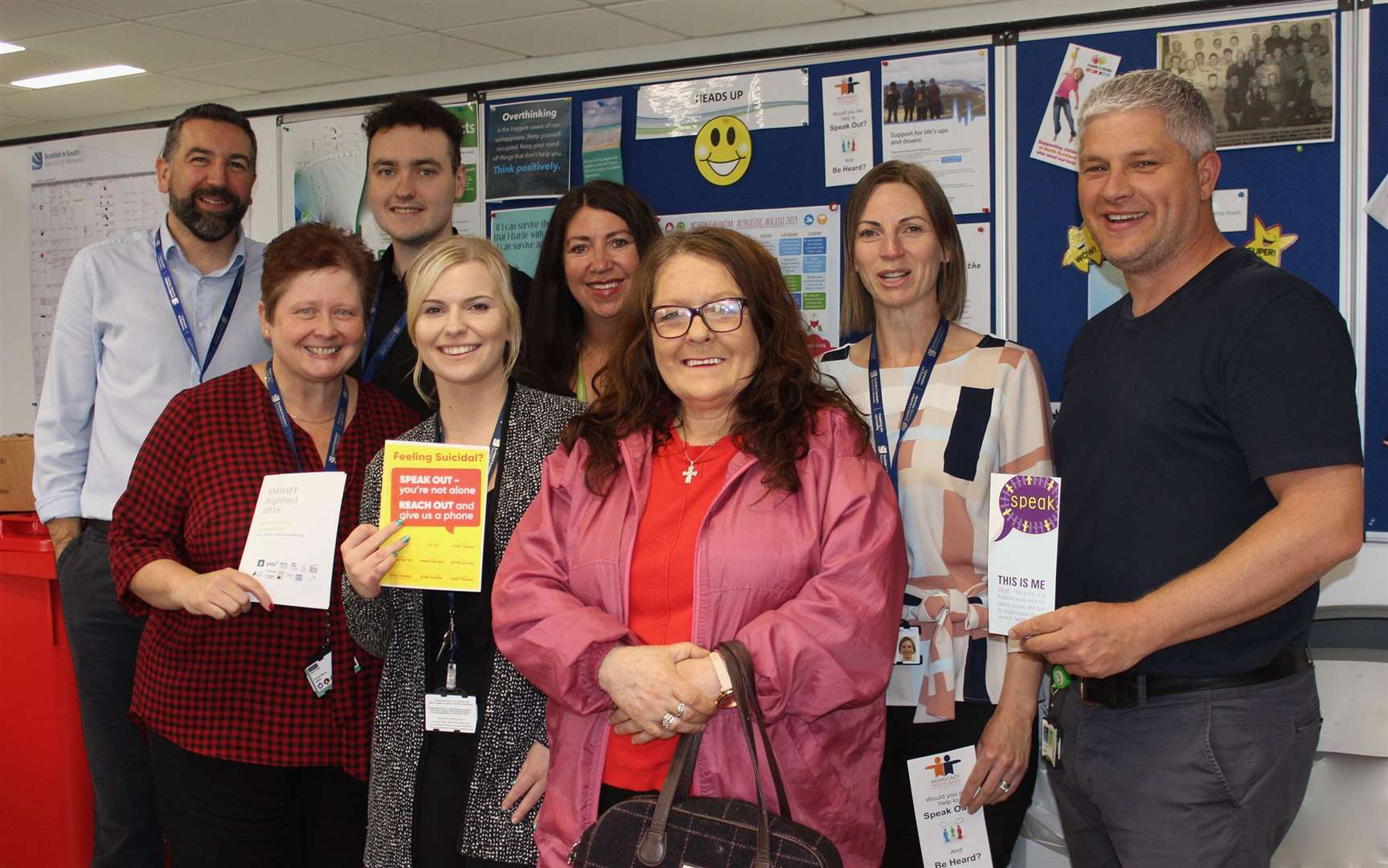Some of SSEN's mental health first aiders with Joanna Higgs, HUG development worker (front centre).