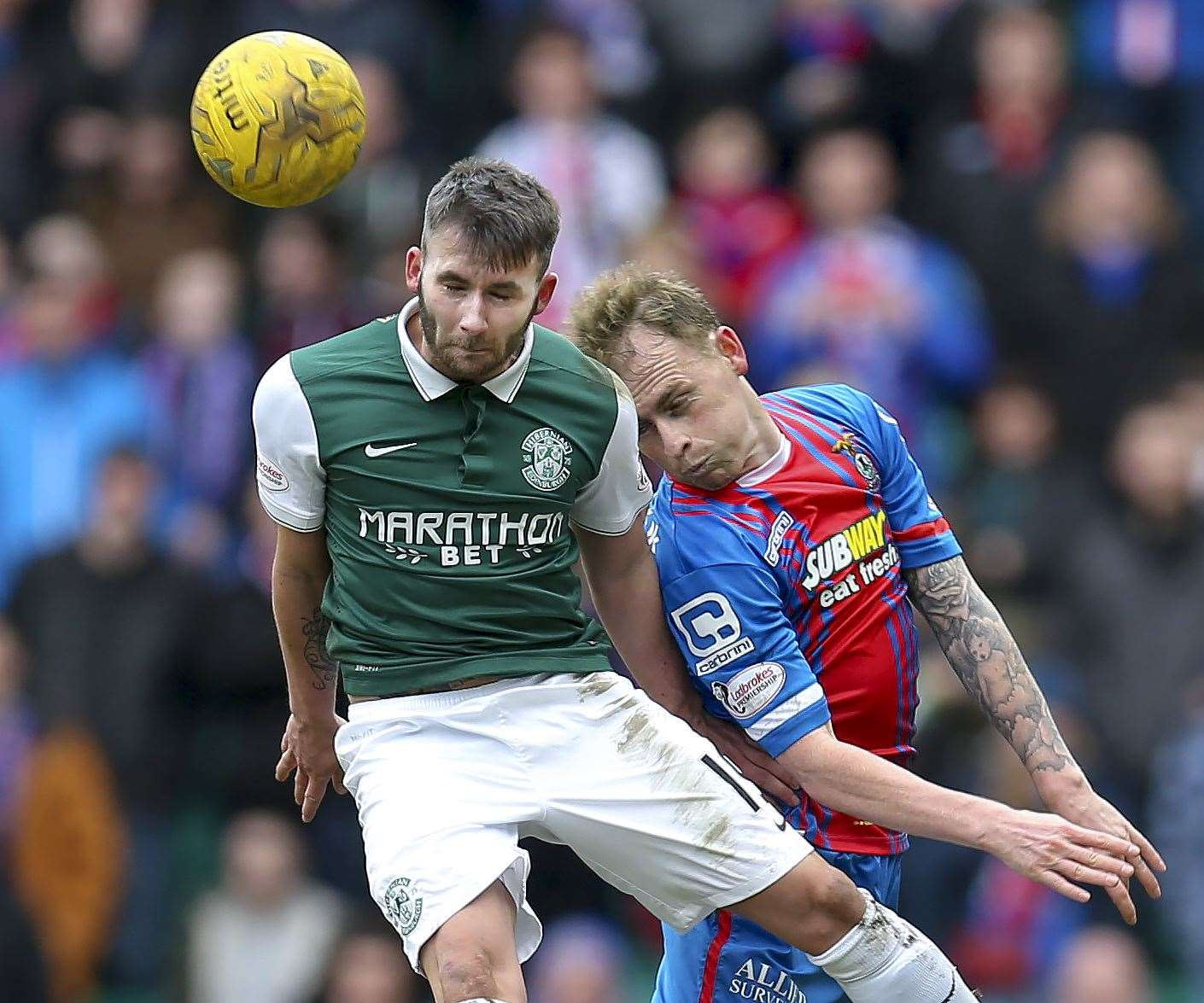 James Keatings (left) in action against current Inverness captain Carl Tremarco in 2016. Picture: Keith Campbell.