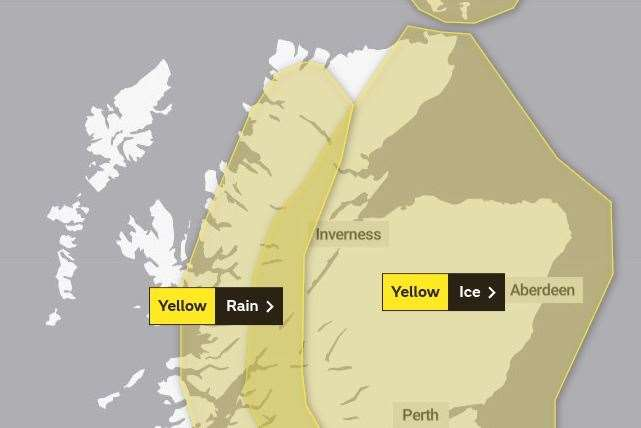 The areas covered by the two weather warnings. Picture: Met Office.