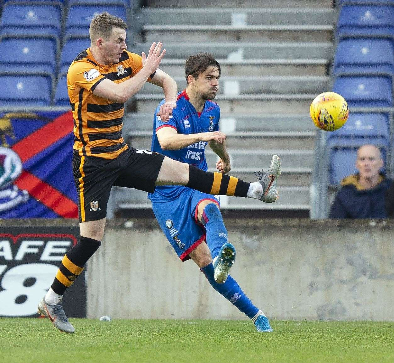 Picture - Ken Macpherson, Inverness. Inverness CT(2) v Alloa(2). 19.10.19. ICT's Charlie Trafford clears from Alloa's Adam Brown.