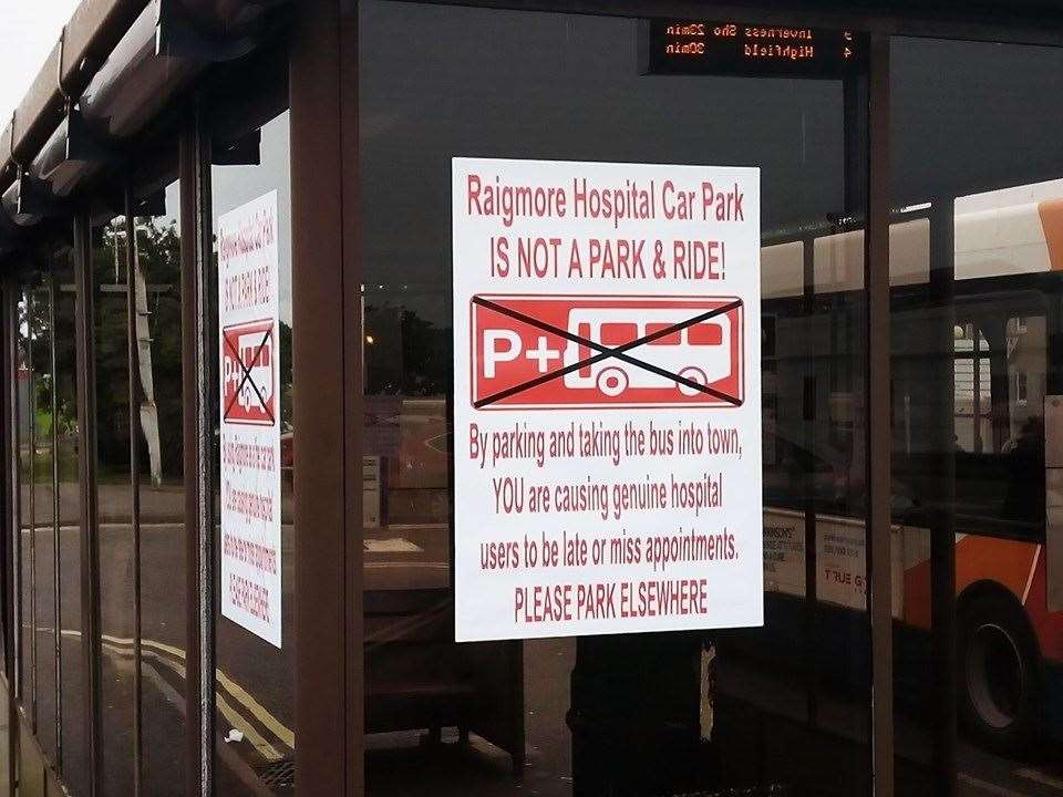 SIGN OF THE TIMES: At Raigmore Hospital warning against inconsiderate use of the car park.