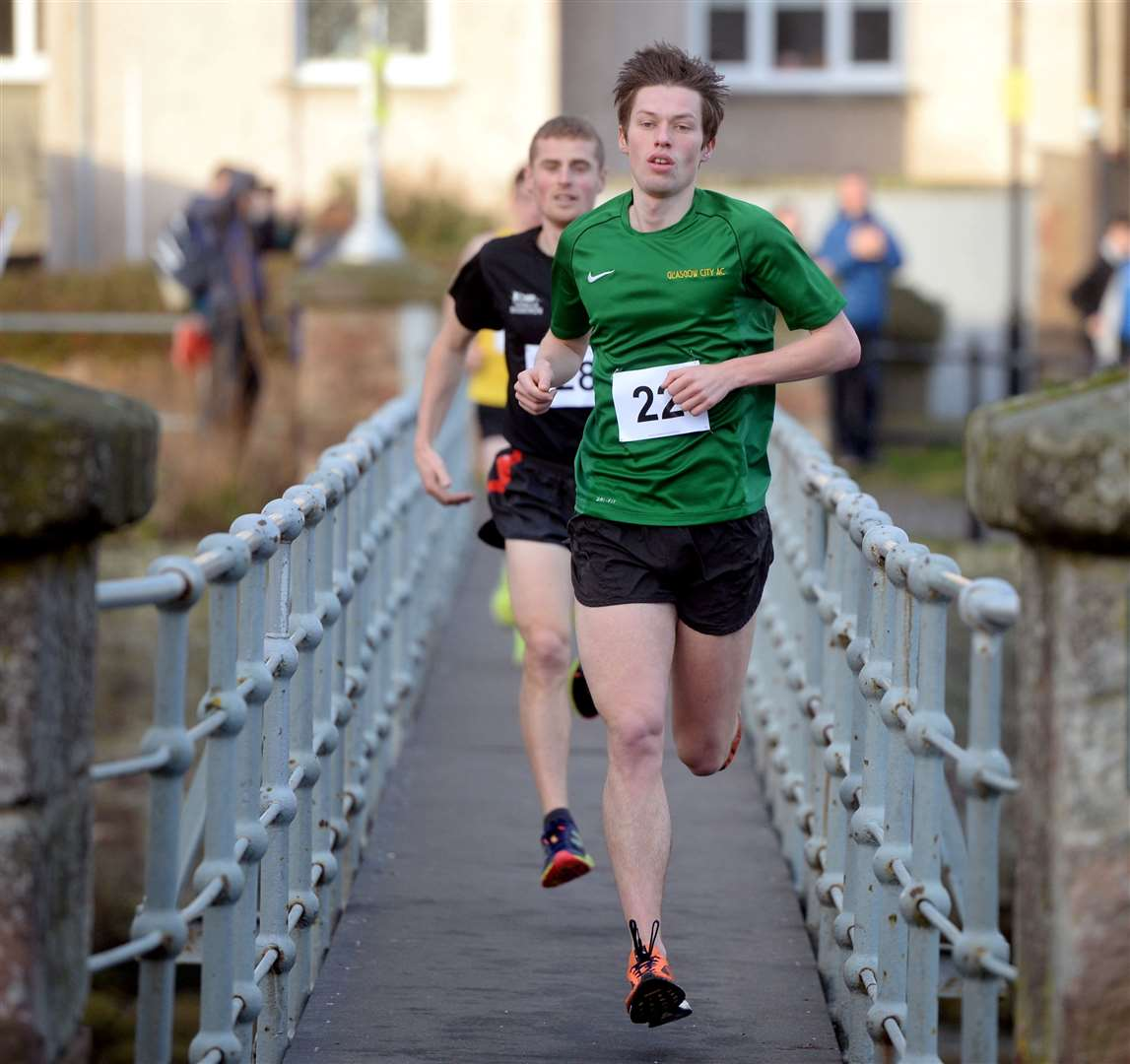Nairn Turkey Trot ..First male was Stephen Mackay...Nairn Turkey Trot .Picture: Gair Fraser. Image No. 042869..
