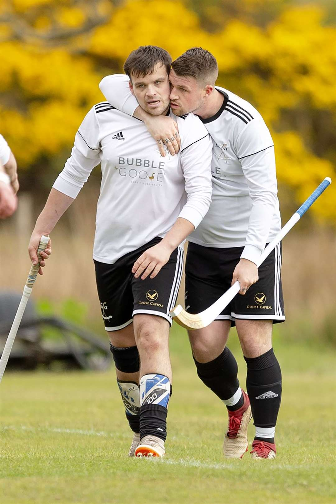 Lovat goal machines Greg Matheson (Left) and Marc MacLachlan against Lovat in the Artemis MacAulay Cup tie first round, played at Kirkton, Balmacara. Picture: Neil Paterson