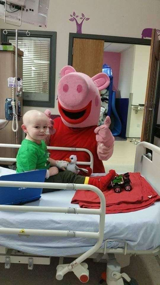Riley remained cheerful during treatment.
