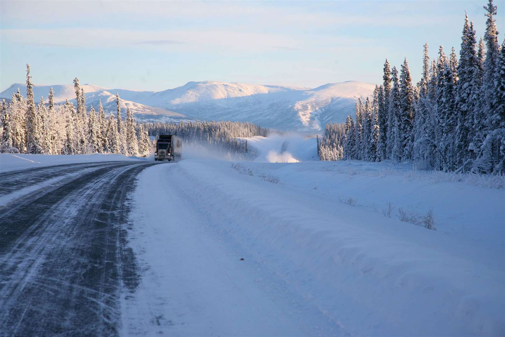 A truck on the Klondike Highway. Picture: PA Photo/Holger Bergold