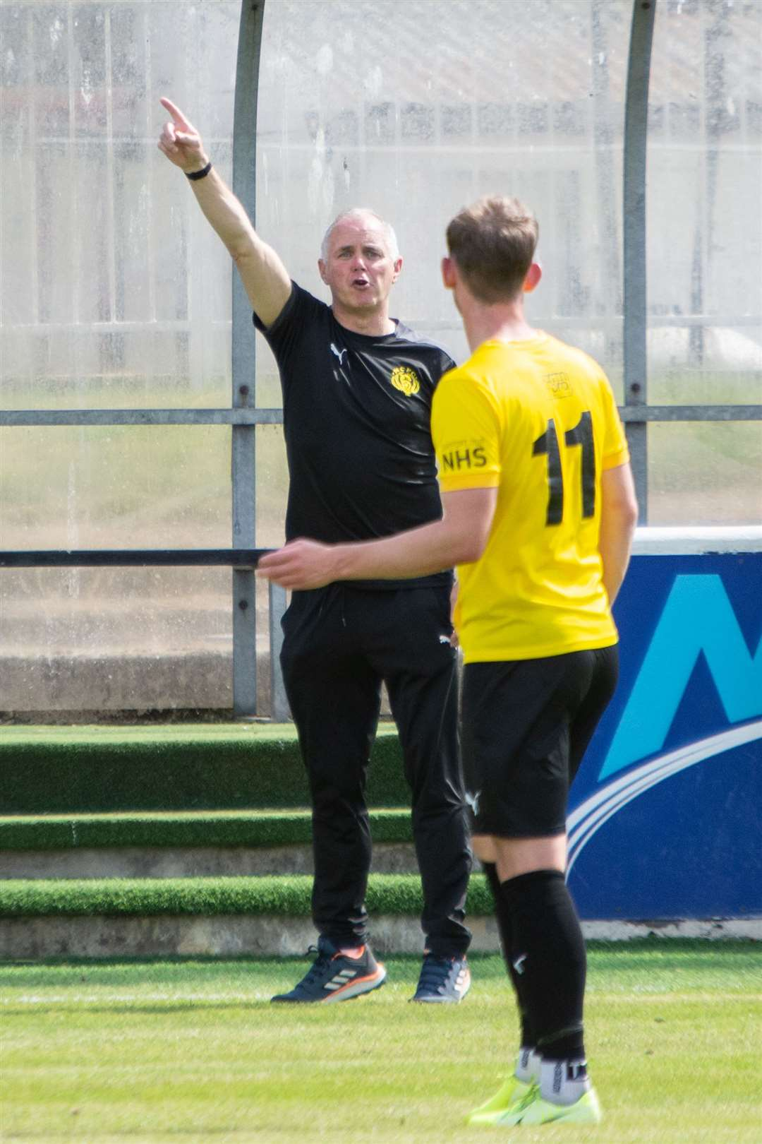 Nairn County manager Ronnie Sharp gives the orders ... Elgin City FC (3) vs Nairn County FC (0) - Preseason Friendly - Borough Briggs, Elgin 07/17/2021 ... Photo: Daniel Forsyth ..