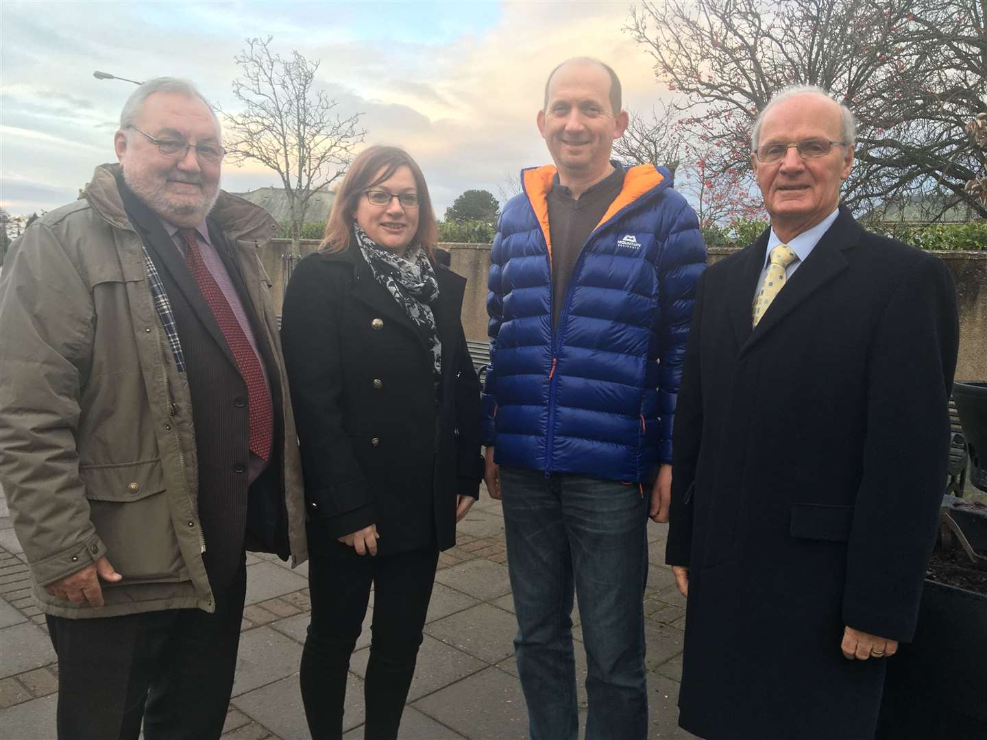 Councillor Tom Heggie, BID manager Janis Maclean, Association of Nairn Businesses chairman Gordon Chisholm and Bill Wilson of Nairn Rotary Club.