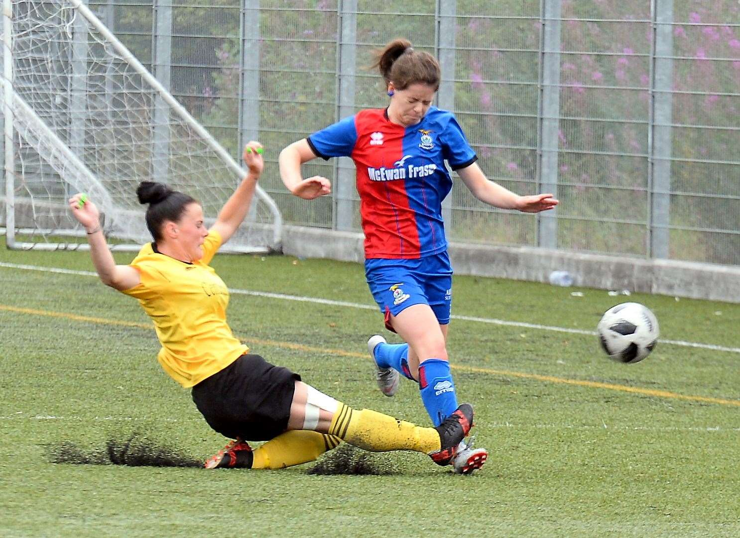 Inverness Caledonian Thistle Women v Cove Rangers in SWF Division One League..ICT's Jodie Malcolm is tackled by Lynne Robertson... Picture: Gary Anthony. Image No..