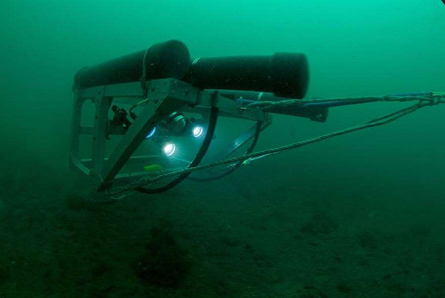 Towed video array under water. Picture: Matthew Witt