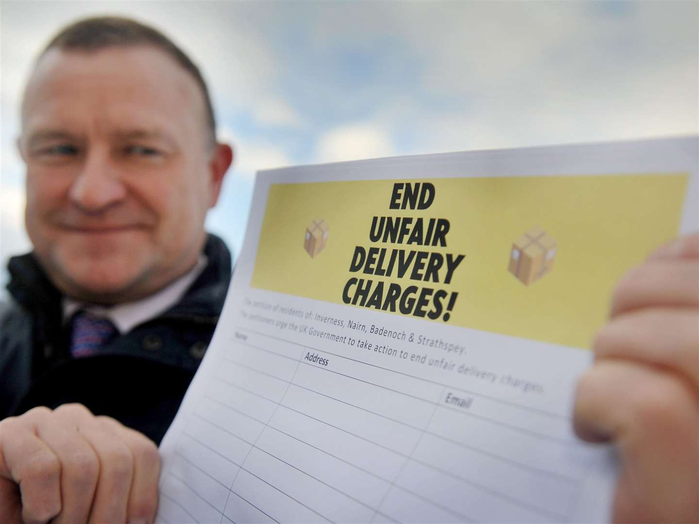 Drew Hendry launched a petition against delivery charges.
