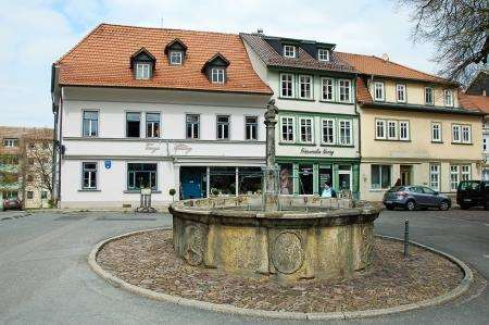 A typical fountain and Tanya's restaurant in Arnstadt