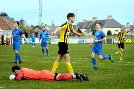 Max Ewan scored twice in Nairn's 3-0 win over Forres Mechanics.