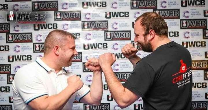 Mike Mackenzie (left) with his opponent Daniel Tucker at the UWCB event.