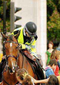 Mounted police will patrol the streets of Inverness on Friday.