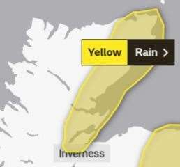 The yellow weather warning comes into effect at 6am on Saturday. Picture: Met Office.