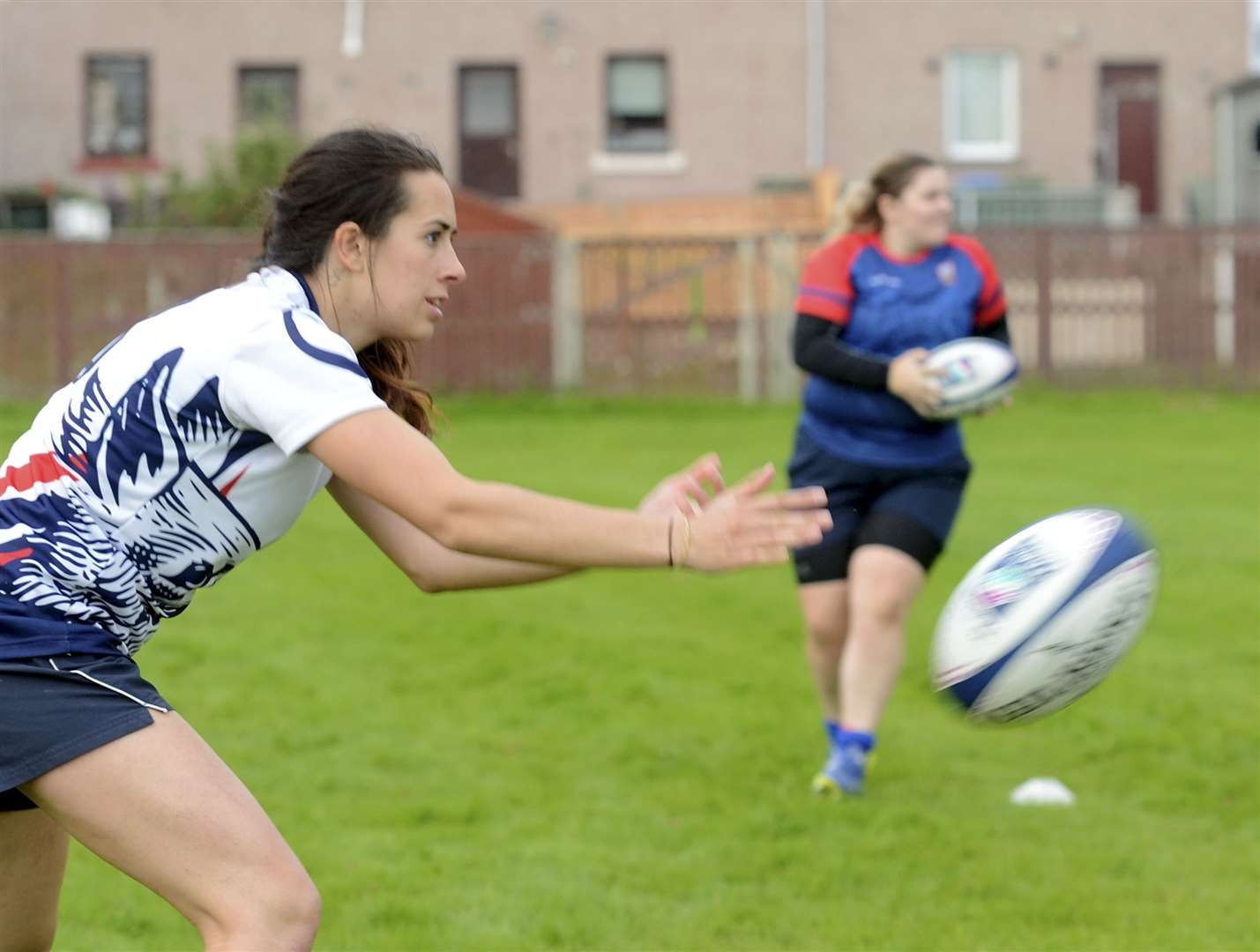 Craig Dunain Ladies RFC,.Federica Stefani, at rugby training, passing the ball..Picture: James MacKenzie..
