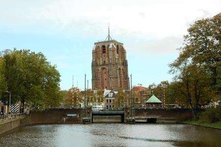 The leaning church tower of Leeuwarden