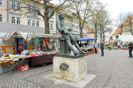 The controversial statue in Arnstadt market square of the young J.S.Bach